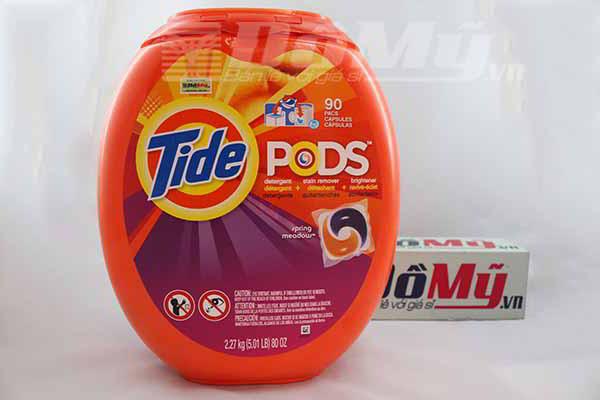 Viên bột giặt quần áo Tide Pods dành cho máy giặt loại 90 viên Mỹ ( 1 viên/7kg áo quần )