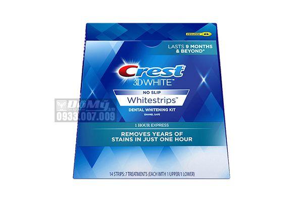 Miếng Dán Trắng Răng Crest 3D White NO SLIP Whitestrips 1 Hour Express 8 Miếng