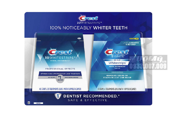 Miếng Dán Trắng Răng Crest 3D Whitestrips Professional Effects Teeth Whitening Kit 40 + 8 Strips