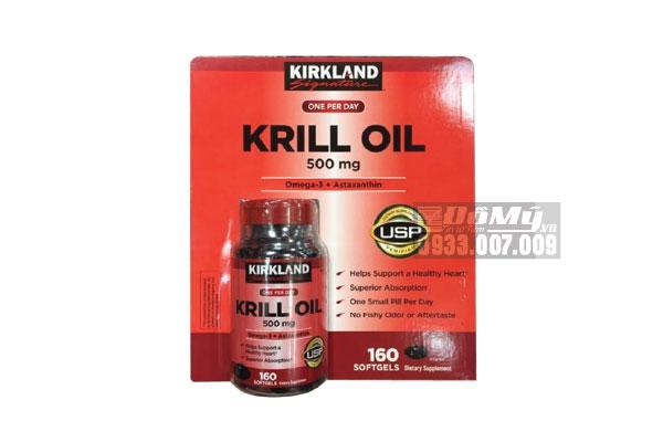 Dầu Nhuyễn Thể (Dầu Tôm) Kirkland Signature Krill Oil 500mg 160 Viên