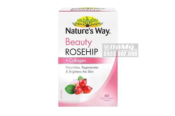Viên Uống Trắng Da Nature's Way Beauty Rosehip Collagen 60 Viên