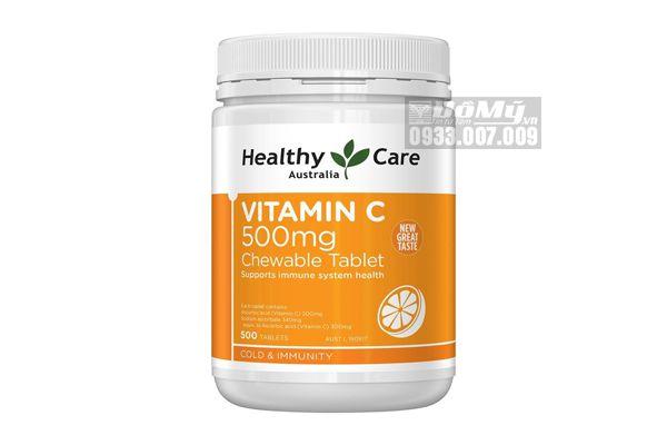 Viên nhai Vitamin C Healthy Care 500mg hộp 500 viên của ÚC