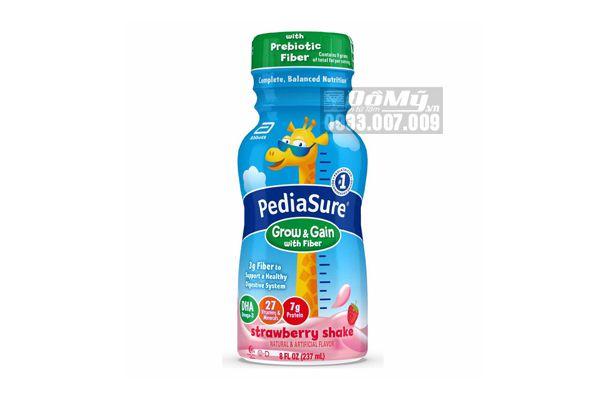 Sữa Nước PediaSure Grow & Gain Fiber Strawberry Shake Thùng 24 chai x 234ml Của Mỹ