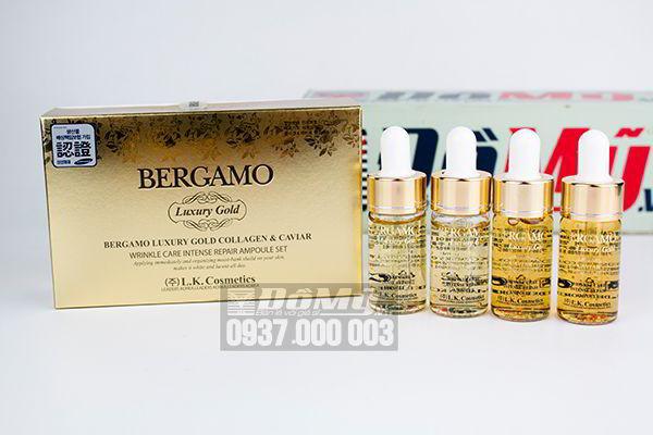 Bộ tinh chất trị mụn Bergamo Luxury Gold Collagen And Caviar của Hàn Quốc