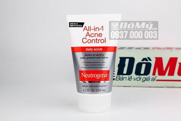 Sửa rửa mặt trị mụn cấp tốc Neutrogena All-in-1 Acne Control Daily Scrub 125ml của Mỹ