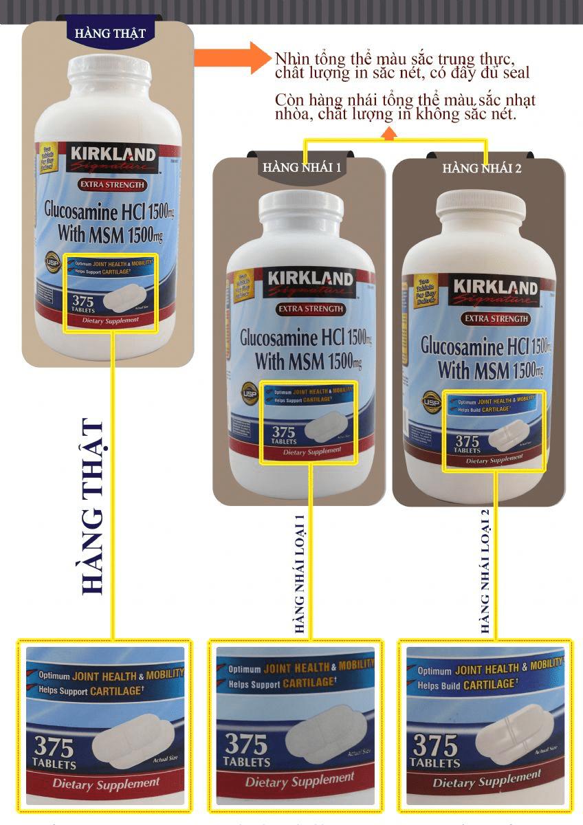 Thuốc bổ khớp của Mỹ Kirkland Signature™ Glucosamin HCL & MSM 1500mg hộp 375 viên