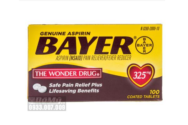 Viên giảm đau hạ sốt Bayer Aspirin The Wonder Drug 325mg 100 viên
