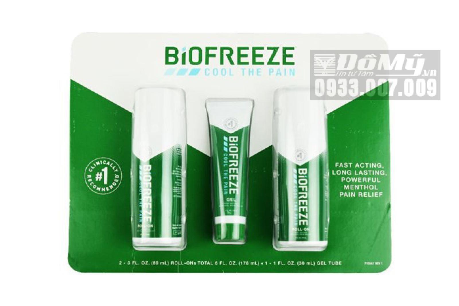 Set lăn Giảm Đau Nhức Biofreeze Pain Reliever của Mỹ (3 món)