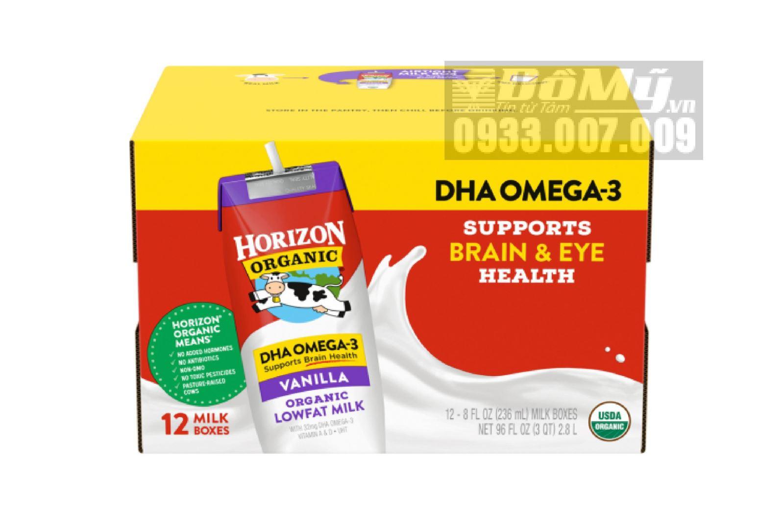 Sữa tươi hữu cơ nguyên kem DHA Horizon Organic 12 hộp x 236ml (thùng)