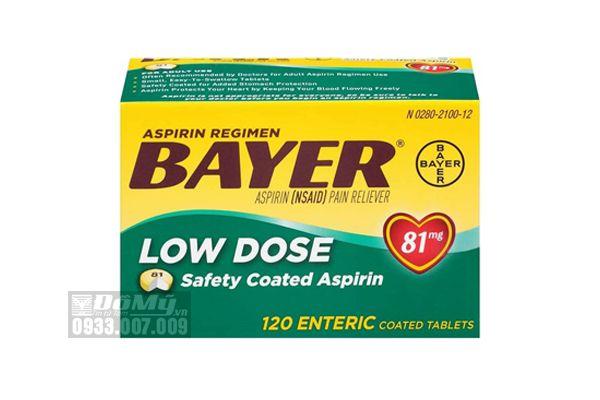Viên giảm đau và ngăn ngừa nhồi máu cơ tim Bayer Low Dose Aspirin 81mg 120 viên