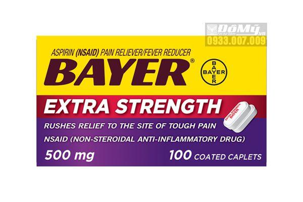 Viên uống giảm đau Bayer Aspirin Extra Strength 500mg 100 viên