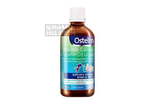 Siro bổ sung canxi Ostelin Kids Milk Calcium - Vitamin D3 Liquid 90ml