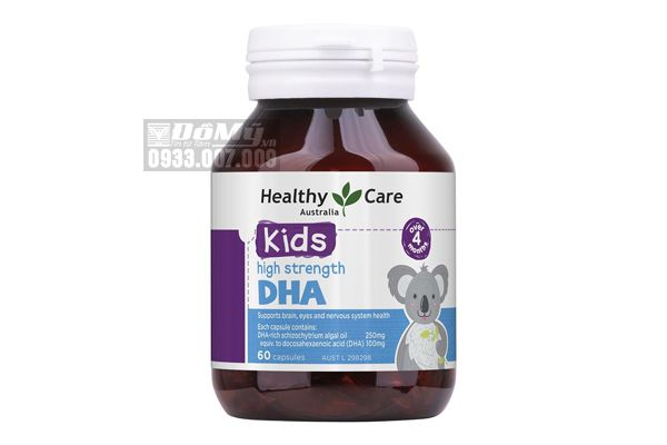 Viên uống bổ sung DHA cho trí não bé Healthy Care Kids High DHA 60 viên của Úc