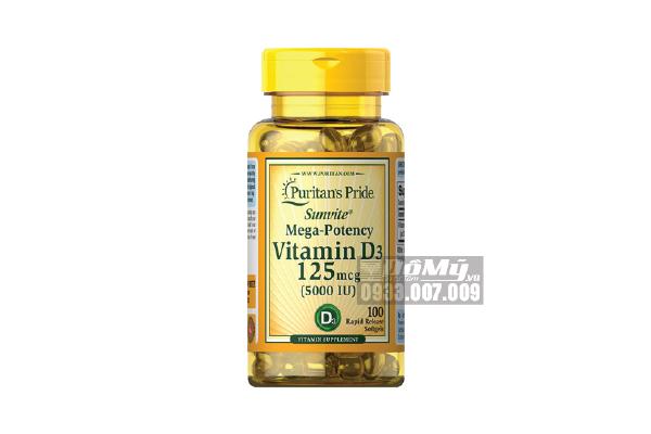 Viên Chống Loãng Xương Puritan's Pride Vitamin D3 5000 IU 100 viên Mỹ