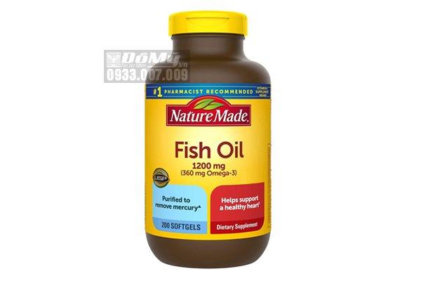 Viên uống dầu cá Omega 3 của Mỹ Nature Made Fish Oil 1200mg hộp 200 viên
