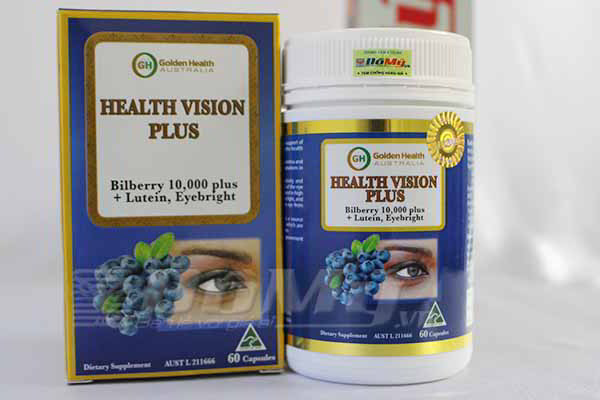 Viên nang bổ mắt Golden Health Health Vision Plus Bilberry 10.000 plus, Lutein, Eyebright, 60 viên