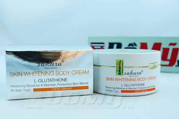 Kem dưỡng thể trắng da toàn thân Sakura Skin Whitening L-Glutathione Body Cream Nhật Bản