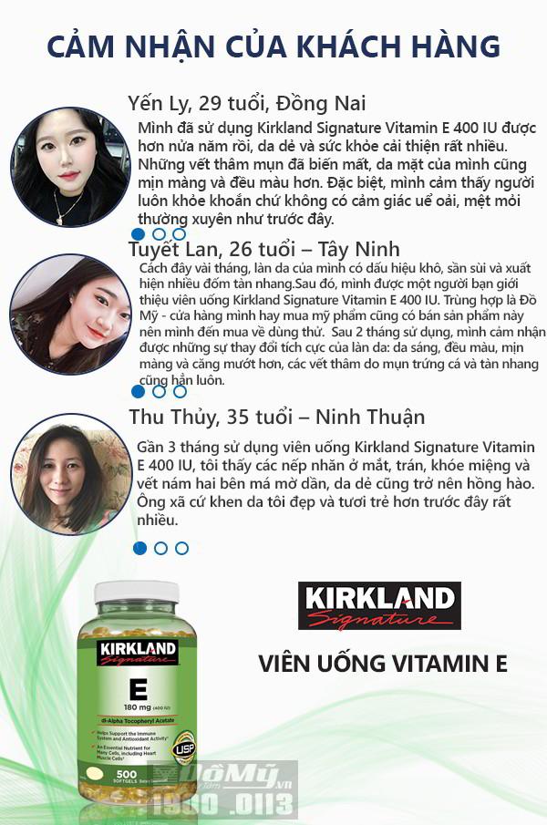 Viên uống vitamin E của mỹ Kirkland Signature 400IU giúp đẹp da, chống lão hóa loại 500 viên