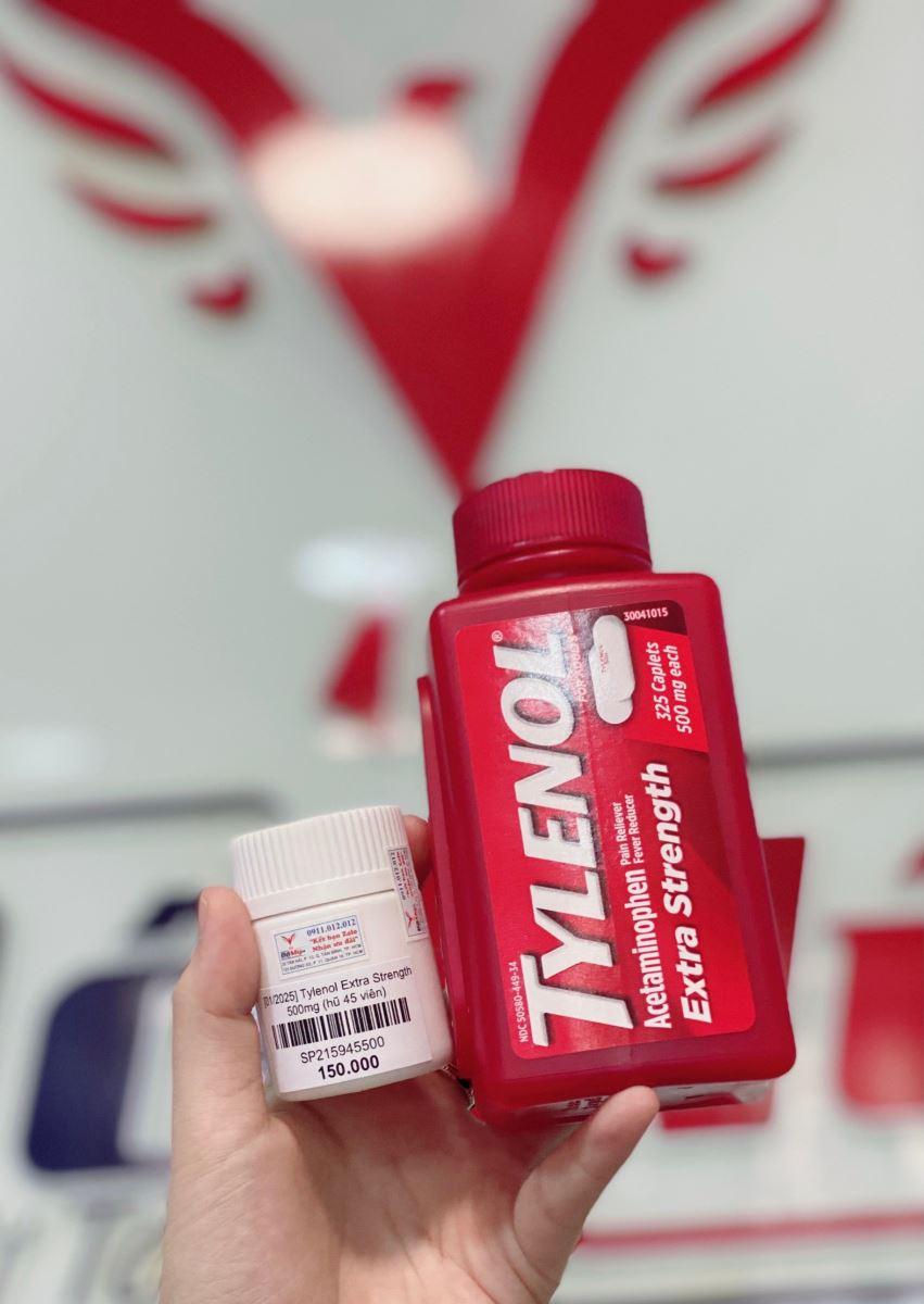 [LỌ CHIẾT]  Viên uống giảm đau hạ sốt Tylenol Extra Strength 500mg 45 viên